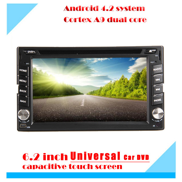Double Din Universal Car DVD 178mm*100mm with Pure android 4.2.2 dual Core CPU:1G DDR3 WIFI 3G audio video player Free GPS map(China (Mainland))