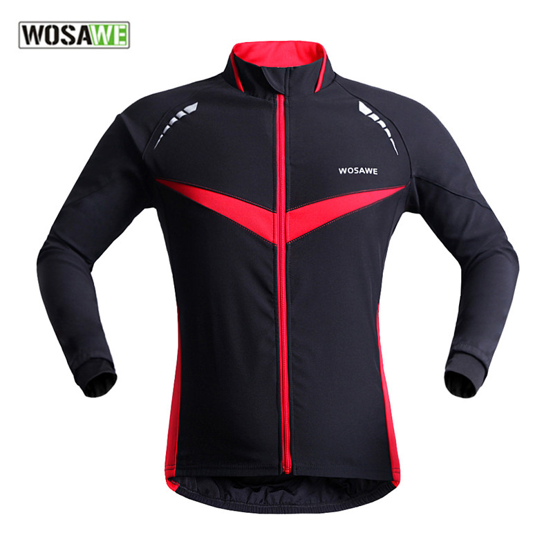 WOSAWE Winter Autumn Windproof Bicycle Cycling Jacket Long Sleeve Jersey Clothing Wear Reflective Outdoor Running Bike Wind Coat - Top-touch Technology Co.,Ltd store
