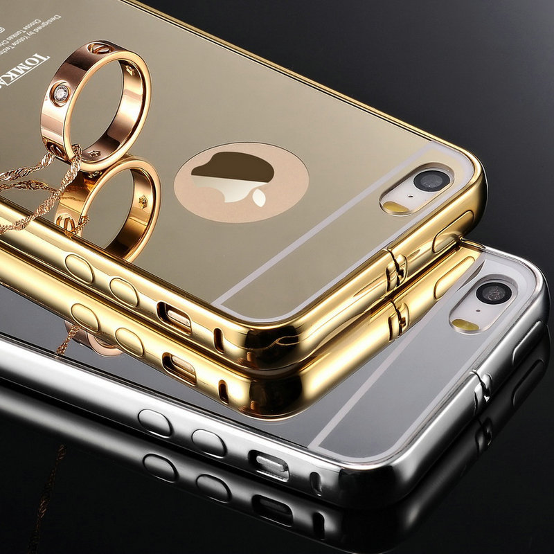 Tomkas 5S Luxury Gold Aluminum Case for iPhone 5/5S Caso Capa Phone Accessories Metal Frame Smooth Mirror PC Cover(China (Mainland))