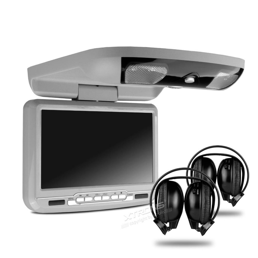 9 Inch Grey Color (Black & Beige Optional) Flip Down Car DVD Car Roof Monitor Roof Mounted Car DVD with 2 IR Headphones(China (Mainland))