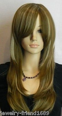 Wholesale heat resistant LY free shipping New Cosplay endearing Long Straight dark brown blonde Mixed font