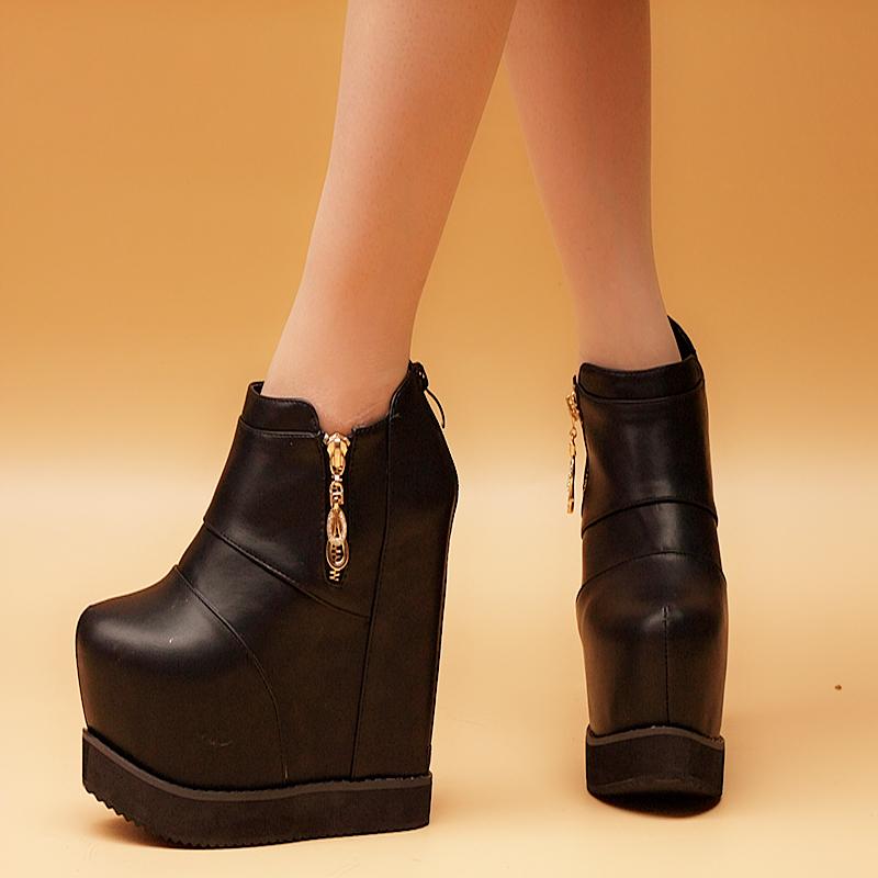 2015 autumn platform boots elevator single boots elegant martin boots platform boots women's wedges shoes