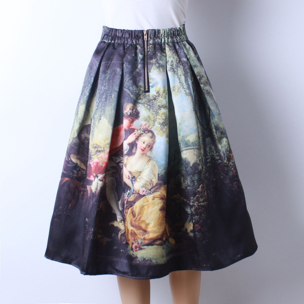HTB101SMQFXXXXcuXXXXq6xXFXXXE - GOKIC 2017 Summer Women Vintage Retro Satin Floral Pleated Skirts Audrey Hepburn Style High Waist A-Line tutu Midi Skirt