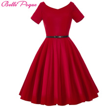 Buy Belle Poque Women Dress 2017 Retro Vintage Short Sleeve Black Red Summer Dress Tunic 1950s 60s Rockabilly Swing Party Dress for $21.36 in AliExpress store