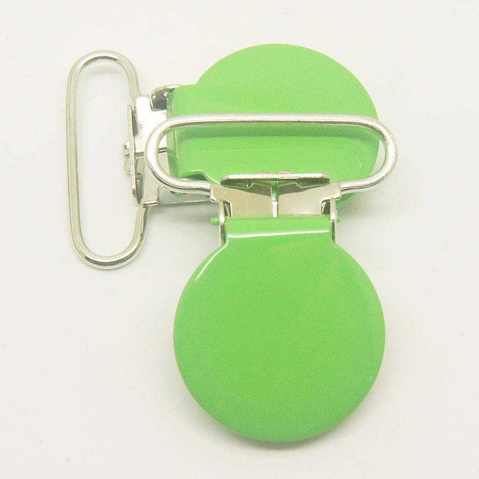 10,round top metal suspender clips apple green 25mm ribbon clips,pacifier