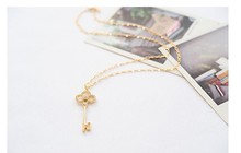 Long Strip Key Crystal Pendants Necklaces Jewelry collier femme Hot Fashion Gold Plated Chain Necklace Pendants