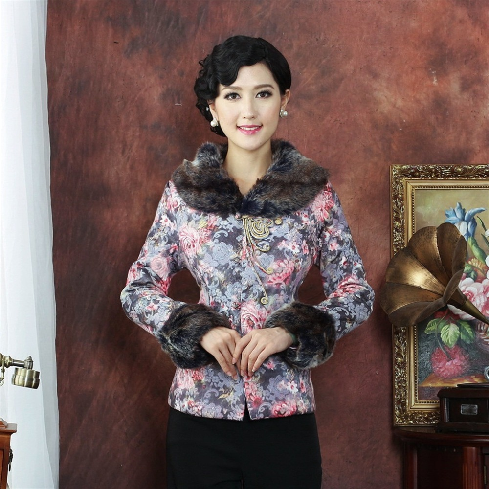 Hot Sale Multicolor Chinese Tradition Womens Man-Made Mink Fur Collar Wadded Jacket Tang Suit OuterwearM L XL XXL 3XL 4XLОдежда и ак�е��уары<br><br><br>Aliexpress