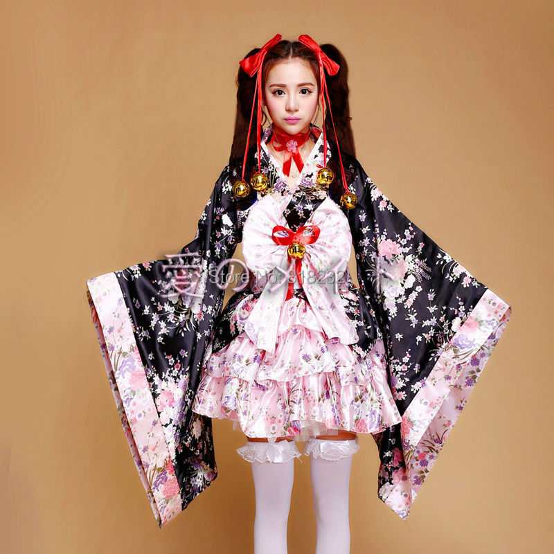 Cute Lolita Kimono Uniform Meidofuku Maid Dress Outfit Cosplay Costumes S-XL(China (Mainland))