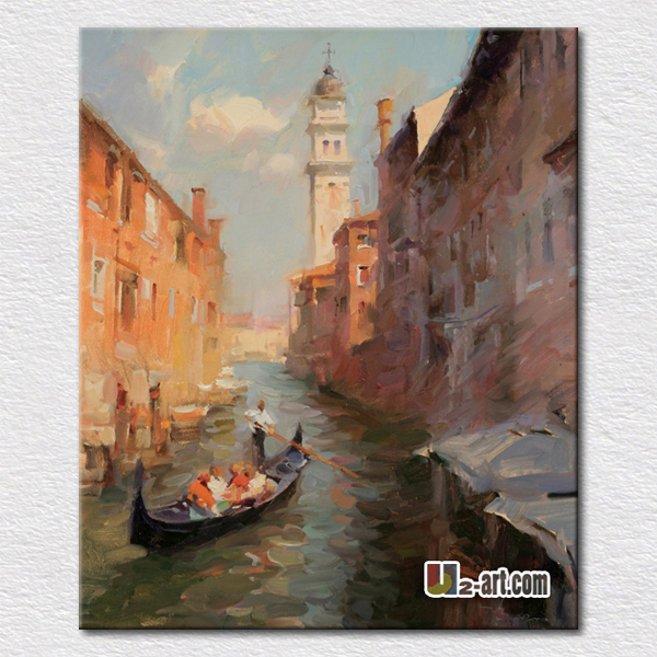 Canvas art Italy city scenery oil painting high quality reproduction hand made oil paintings on canvas pictures for living room(China (Mainland))
