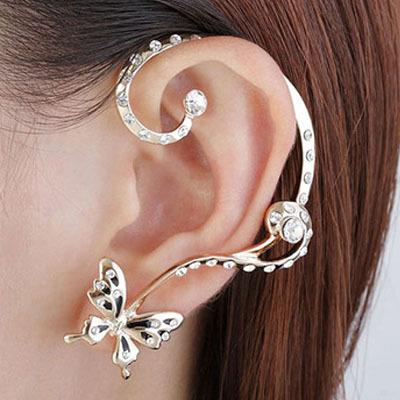 Clip Earrings lovely butterfly ears hanging earrings ear cuff earrings wholesale fashion Set auger punk earrings(China (Mainland))