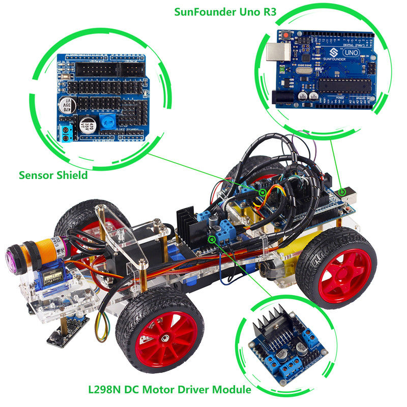 Smart car kit for arduino uno r electronic diy obstacle