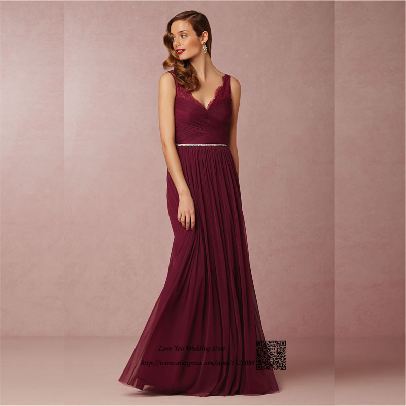 Burgundy bridesmaid dresses 2016 maroon long lace maid of for Maid of honor wedding dresses