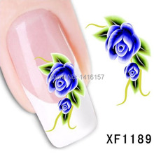 Min order is 10 mix order Water Transfer Nail Art Stickers Decal Beauty Ocean Blue Rose