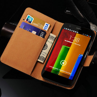 Case For Motorola Moto G Flip Wallet Genuine Leather Stand Phone Bag For Motorola Moto G Case Cover with Card Slot(China (Mainland))