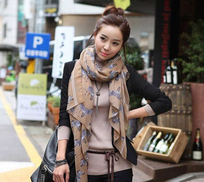 voile long scarves Autumn and winter shawl zebra horse printing scarf silk shawl scarf women bufandas(China (Mainland))