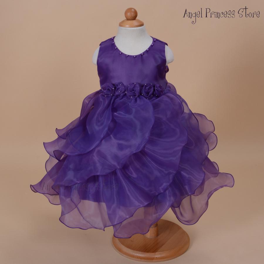 DF07 Purple 2015 Flower Girls Party dress Pageant summer Dance fomal Princess Dress 1-7 Years 12 18 24MONTHS 3T 4T 5T 6T 7T - APS DRESS store