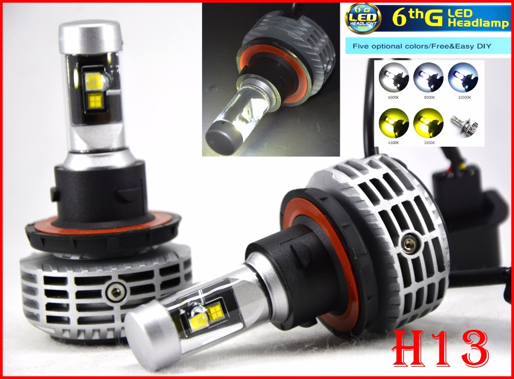 2016 NEW 1 Set H13 9008 80W 6000LM LED Headlight Conversion Kit Fanless All in One Hi/Low Dual Beam 6th G LED Bulb Super Bright(China (Mainland))