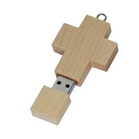 USB 2.0 Interface Type Customized logo class Style cheap wooden cross shape usb flash drive