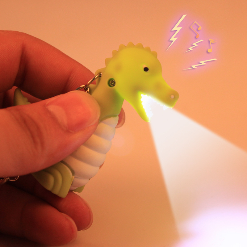 Creative Led Cartoon Dinosaur Keychain with Sound Animal Series Key Ring KidsToys Doll Birthday gift free shipping HOT 5pieces(China (Mainland))