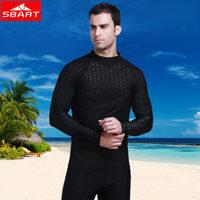 SBART Black Blue Sharkskin Rash Guard Men UPF50+ Surf Rashguard Man Swimwear Two Pieces Snorkeling Suit Wetsuit Rash Guard Top J