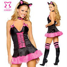 Black/Pink Animal Halloween Costume Sexy Fox Cosplay Lingerie Adult Role Play Costumes Carnival Women Fancy Dress Fantasias
