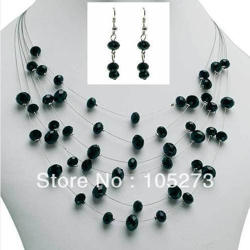 Stunning Natural Crystal Jewelry Set Black Color Flat Crystal Beads Multi Wire Necklace Earrings       6-8mm 18'' Free Shipping