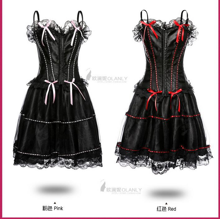 Chrismas Sexy Corset Wedding Party Dress Bustier Whole Set Corset Sexy Lingerie Gothic Party Queen Corset Dress(China (Mainland))