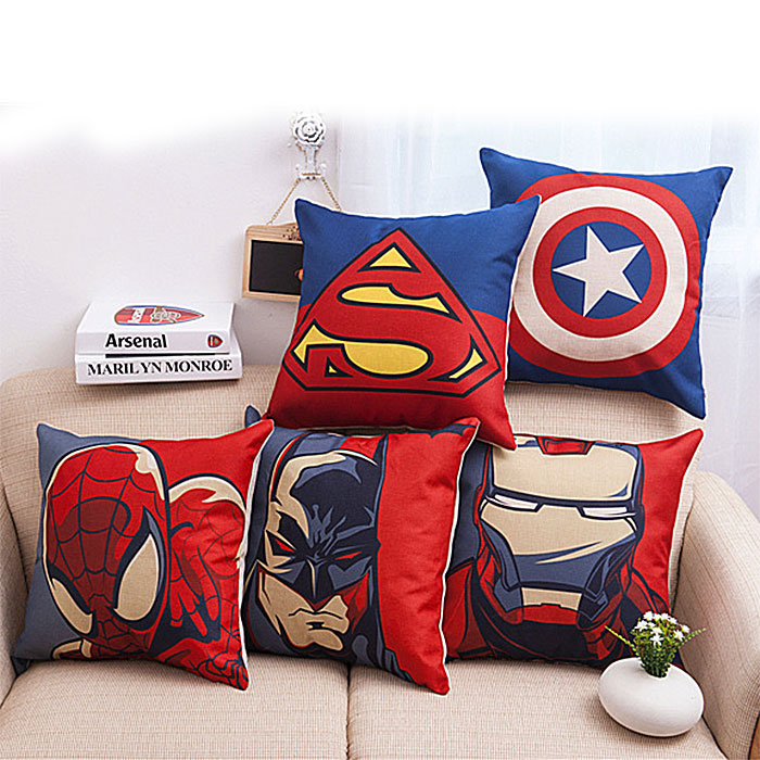 High quality Europe super hero healthy Cotton embroidery cushion pillow Office sofa pillows Car cushion Home Decor nice gift(China (Mainland))