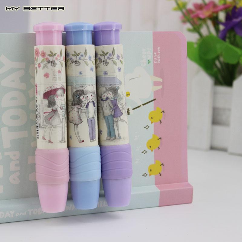 1 PCS Students Pen Shape Eraser Rubber Novelty Stationery Kid Gift Office Stationery 3 Colors