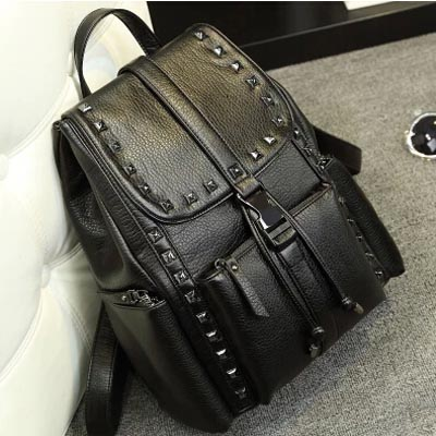 2015 new design Korean style rivet genuine leather pure color women backpack college student leisure backpack shoulder bag<br><br>Aliexpress