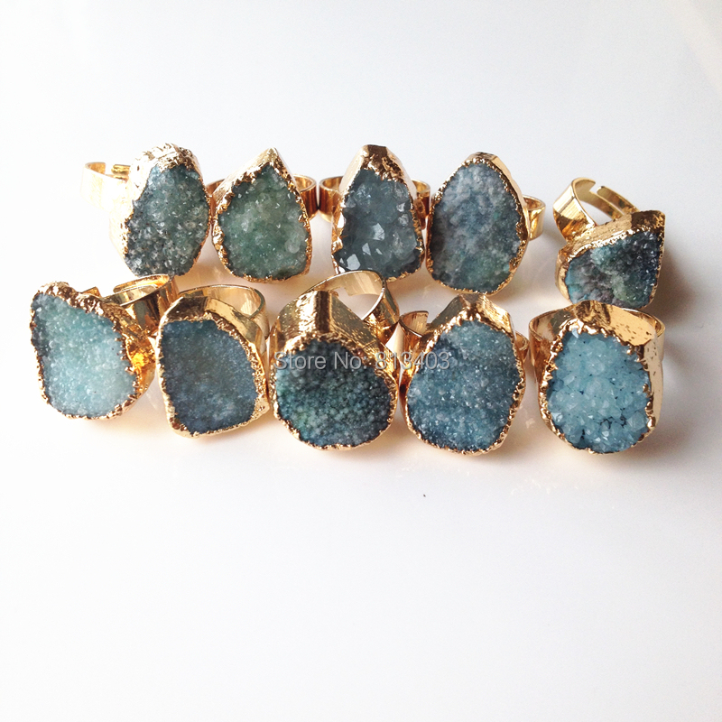 Hot Selling 2015 Fashion Trendy 18K Gold Plated Natural Stone Quartz Amethyst Crystal Druzy Drusy Ring For Women(China (Mainland))