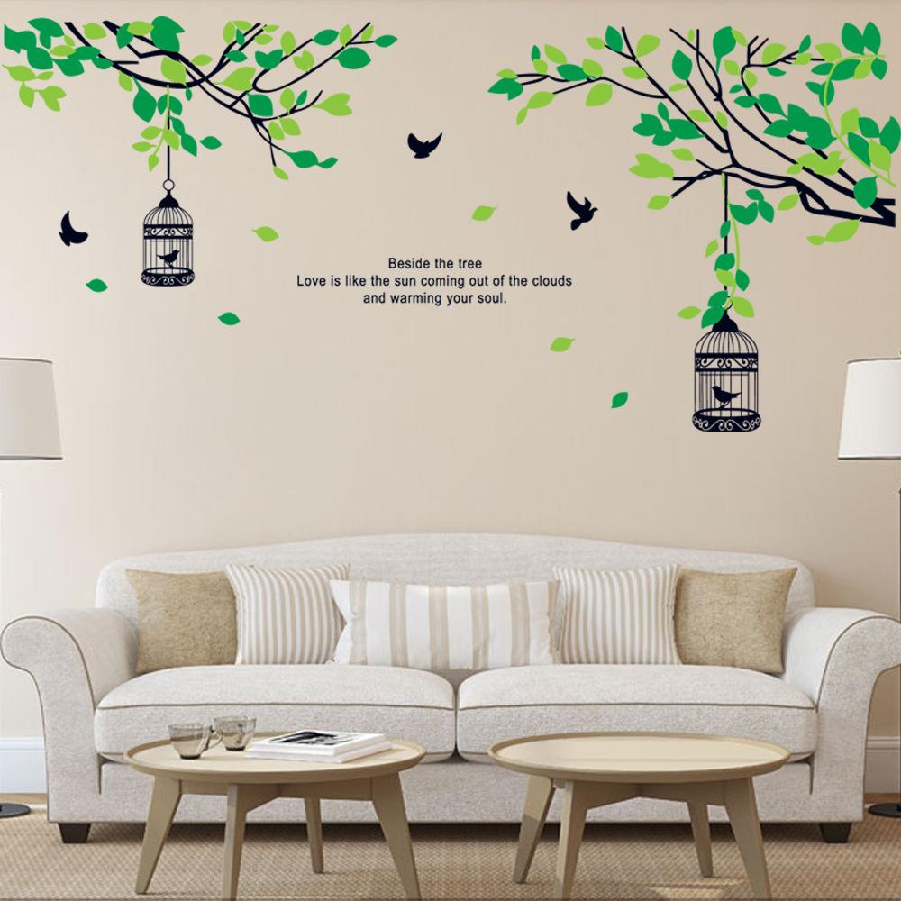 Acheter branches d 39 arbres oiseaux birdcage - Stickers muraux pour salon ...