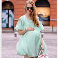 New fashion round neck short sleeve loose chiffon strapless soft and comfortable breathable pregnant women dress