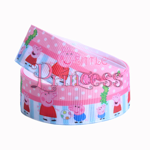 25mm party Peppa pig printed grosgrain ribbon for DIY hair accessory 50yds/roll free shipping grosgrain ribbon(China (Mainland))