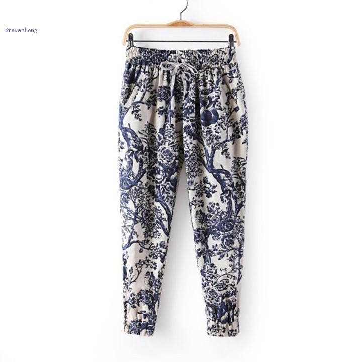 Elegant Loose Women Floral Geometric Pattern Print Casual Harem Pants  Alex