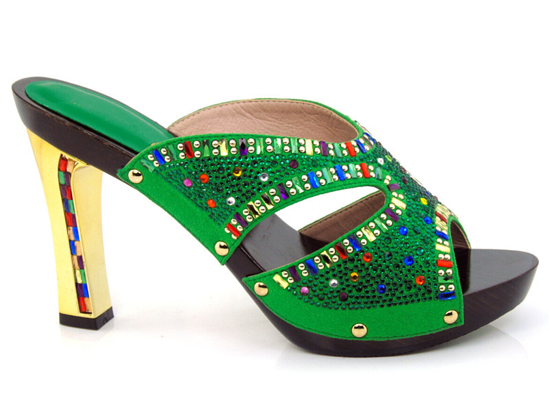 Free shipping by DHL DX16-701 green color size 38-43,New coming shoes for African lady dress.