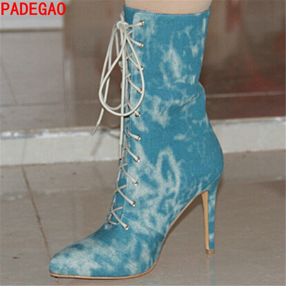 PADEGAO Women Boots 2017  Fashion  High Heels Lace Boots Party Ankle Boots Women Shoes blue  Plus  Size 14cm heel