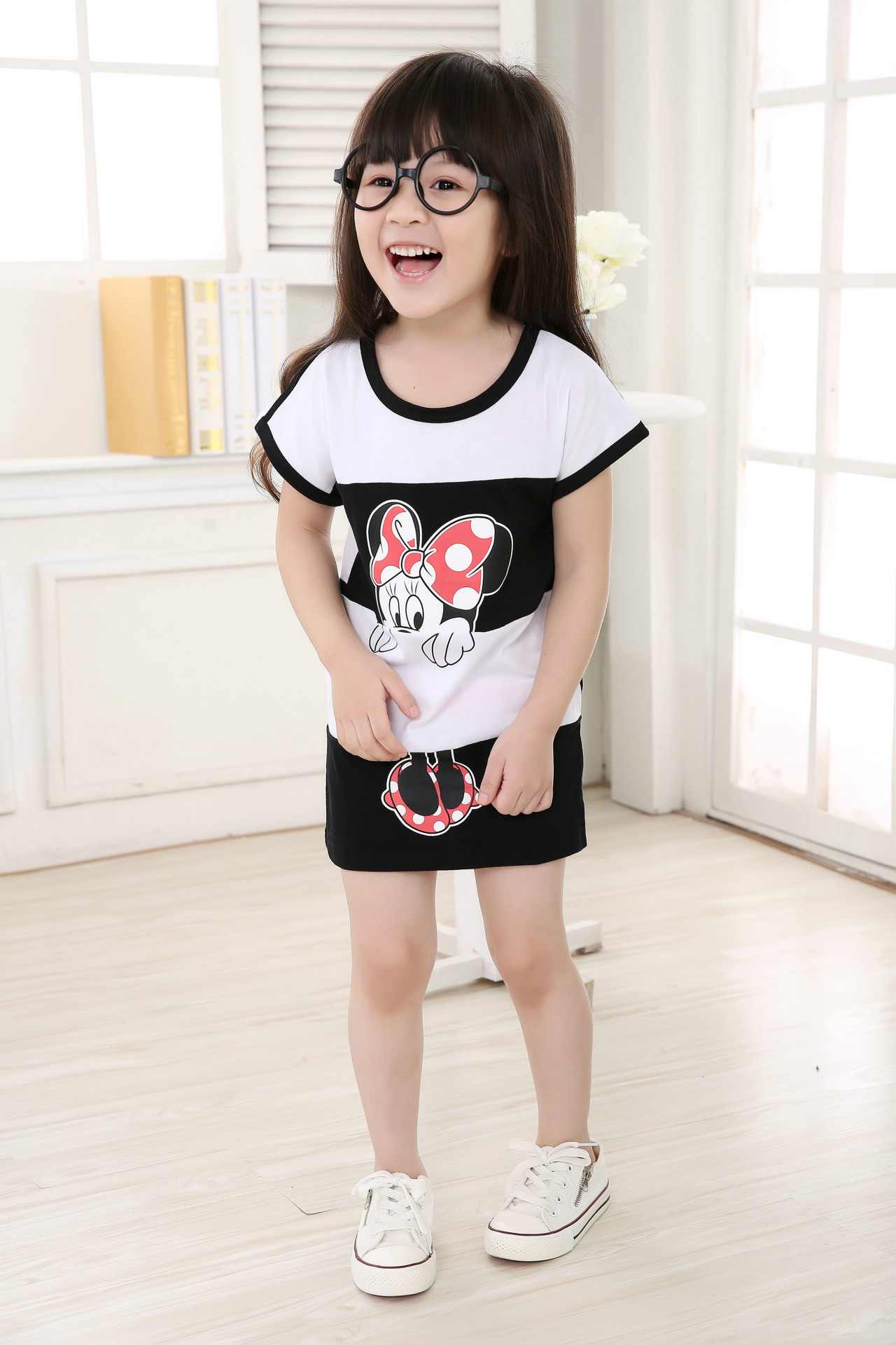 2016 New Spring And Summer Girls Dress Up Minnie Cartoon Printed Children Girl Princess Dress Cute Girl Dress Fashion(China (Mainland))