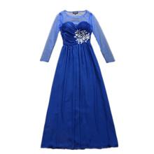 2015 women autumn fashion Dress elegant handmade beading embroidery designer maxi dress long sleeve formal Dress D4511(China (Mainland))