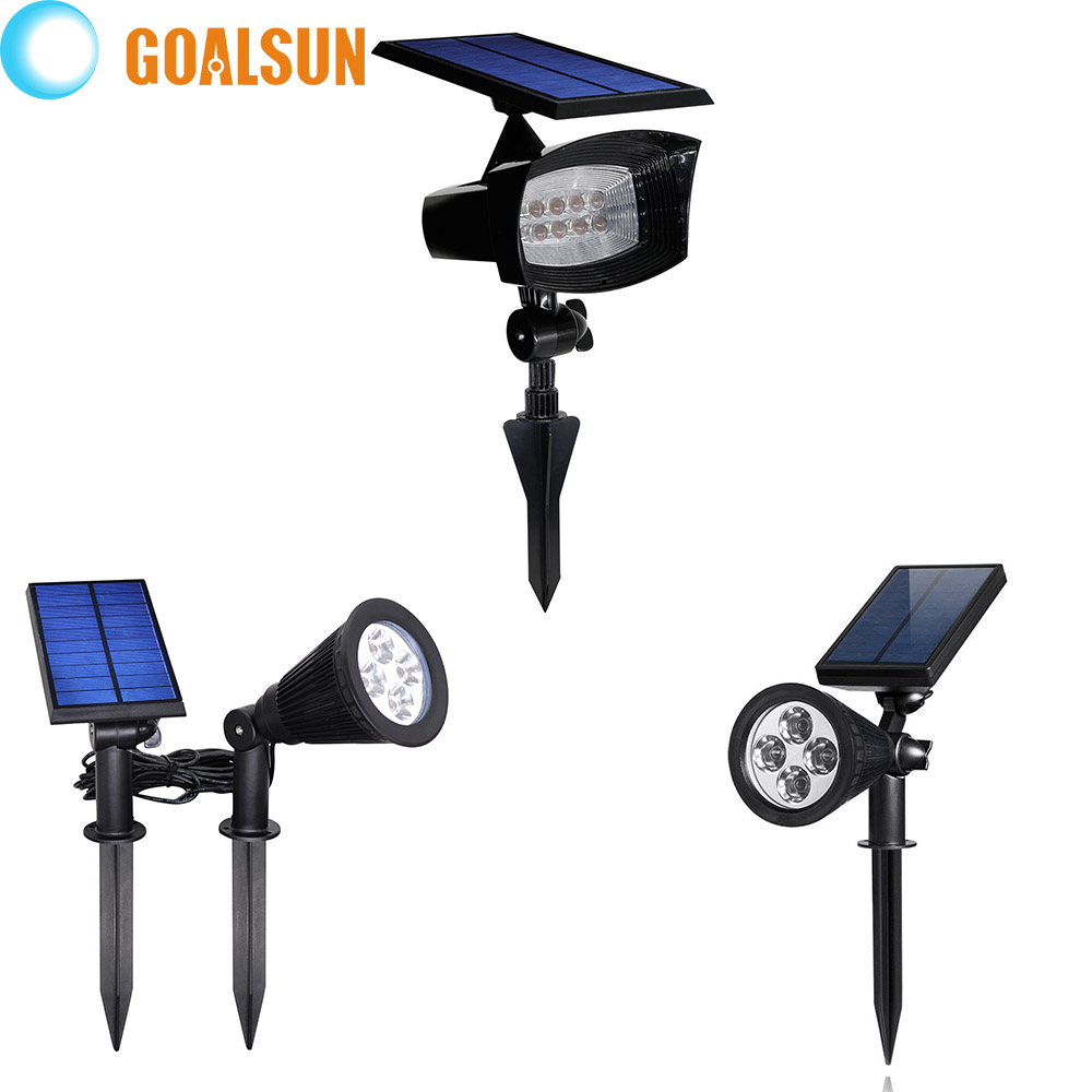 Super Bright 4 or 8 Led Solar Powered Lamp Outdoor Spotlight Waterproof Light Ground Landscape security Lighting(China (Mainland))
