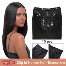 "Yotchoi clip in sets products 10pcs clip in human hair extensions 14""-24"" straight natural colour 5A grade human hair extensions(China (Mainland))"
