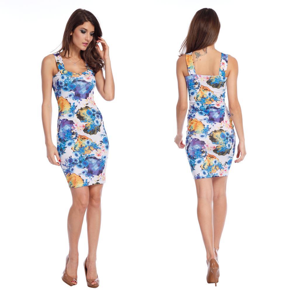 summer dress 2014 fashion women sleeveless floral printed
