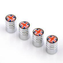 4X British Flag Logo Black Tire/Wheel Air Pressure Stem Valve Caps Covers Car Tyre Valve Rim Valve Flag Valve