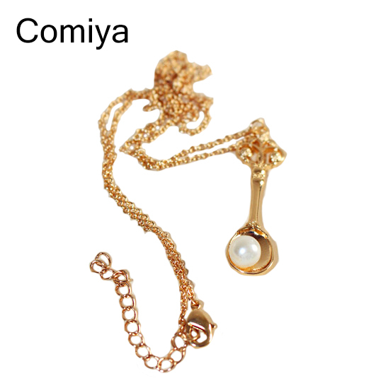 Hot selling fashion new jewelry zinc alloy 10k gold Japanese spoon pendant necklaces for women statement accessories promotion(China (Mainland))