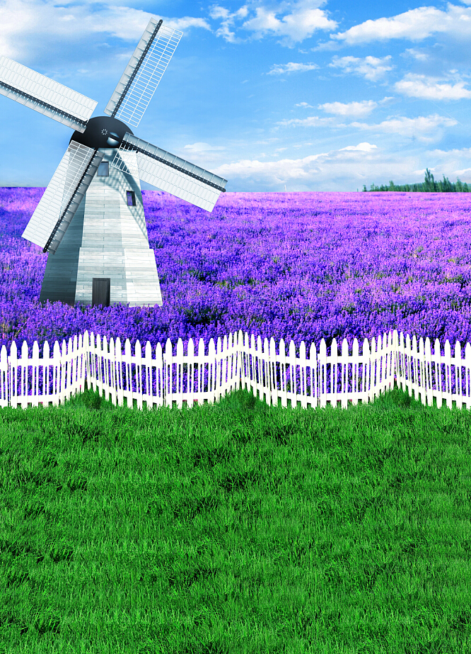 Фотография 600CM*300CM Backgrounds lavender  sea of flowers wedding vinly backdrop photography backgrounds AY 4381