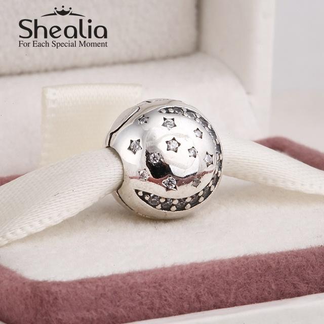 Стерлингового серебра 925 вымощают циркон рождество луна и звезда клип подвески для женщин браслеты сделай сам ювелирное лучший рождественский подарок