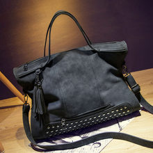 Rivet Nubuck Leather women bag Fashion Tassel Messenger Bag Vintage Shoulder Bag Larger Top-Handle Bags Mummy Package(China (Mainland))