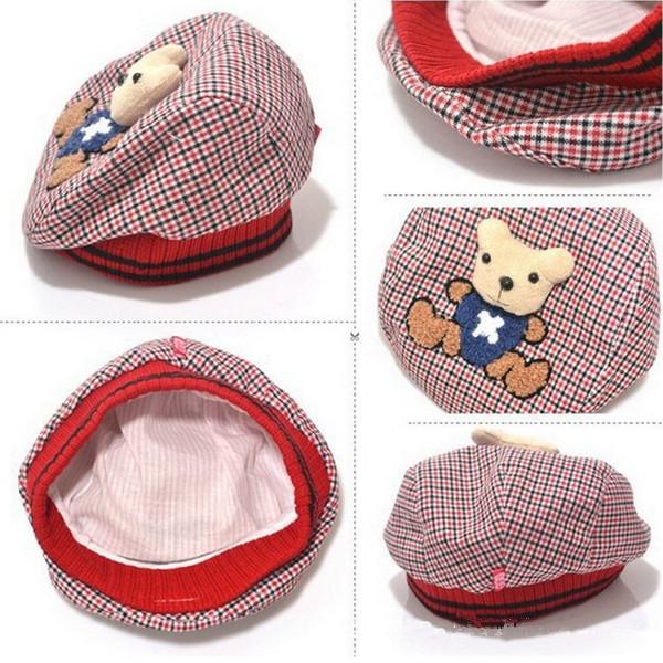 Free Shipping Classic Design Cartoon Little Bear Baby Infant Berets Caps Boys Sports Sun Hats Caps Topee(China (Mainland))