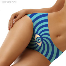 Buy Tanga Women Panties Briefs Sexy Lingerie Underwear Cool Eyes Print Stripes Geometry Woman G-string Thong Women's Undies Seamless