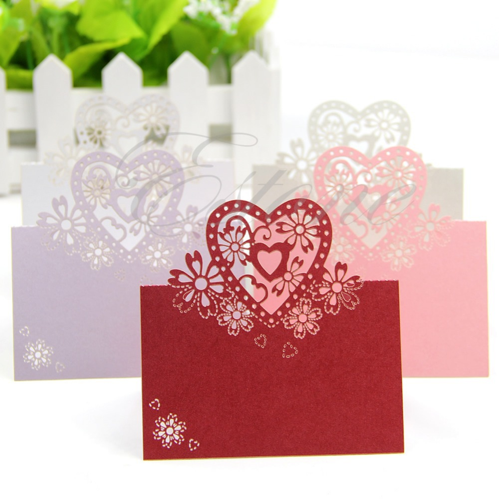 Free Shipping 50pcs Love Heart Laser Cut Wedding Party Table Name Place Cards Favor Decor(China (Mainland))